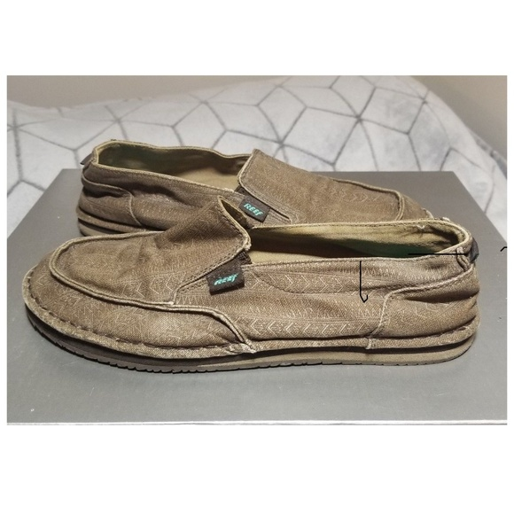 Reef Brown Canvas Slip On Shoes Mens